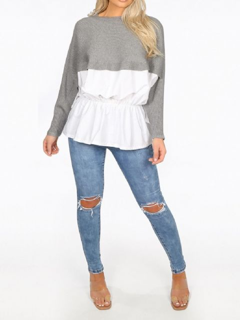 Lizzy Grey Peplum Ribbed Knit Jumper
